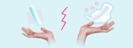 bild på två händer, med en tampong till vänster och en binda till höger. Bilden illustrerar de olika fördelarna varje skydd har.