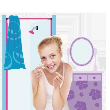 Bild på en ung kvinna som håller en o.b.® tampong i handen