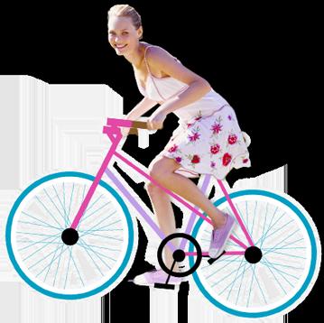 Bild på en ung kvinna som cyklar