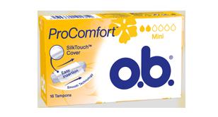 Bild på en förpackning av o.b. Original Mini. Produkten har 2 bloddroppar och indikerar att den passar bra för små mensblödningar.