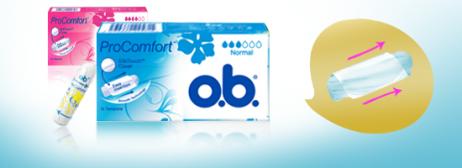 Bild på två förpackning av o.b. ProComfort Normal och Super. Produkten har 3 respektive 4 bloddroppar och indikerar att de passar bra för normala och rikliga mensblödningar.