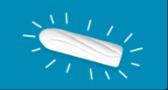 bild på en vit tampong på en blå bakgrund, tampongen har streck runtomkring sig.