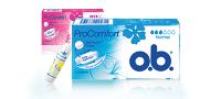 Bild på olika produkter från o.b. tamponger. O.b. Original, o.b. ProComfort och o.b. Procomfort night.